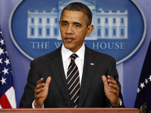 President Barack Obama addresses the press on Wednesday.