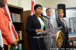 The Mayor of DC, Muriel E. Bowser addressing the audience. She is not tolerating the high homicide rate in DC