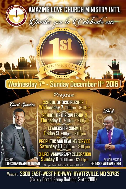 Bishop Christian Raymond Ngwu and Senior Pastor Georges-William Ntemi will lead celebrations of Amazing Love Church Ministry Int'l this week.